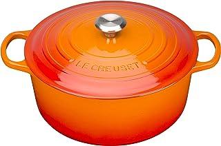 Le Creuset Evolution Cocotte con Tapa, Redonda, Todas Las Fuentes de Calor Incl. inducción, 2,4 l, Hierro Fundido, Naranja(Volcánico), 20 cm