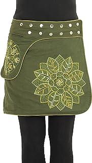 PUREWONDER Damen Wickelrock Baumwolle Rock mit Tasche sk241