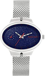 Blue Dial Silver Stainless Steel Strap Watch