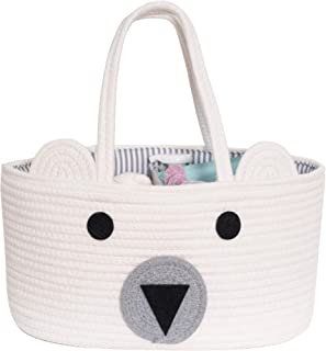 Baby Diaper Caddy Organizer - Stylish Rope Nursery Storage Bin 100% Cotton Canvas Portable Diaper Storage Basket for Chang...