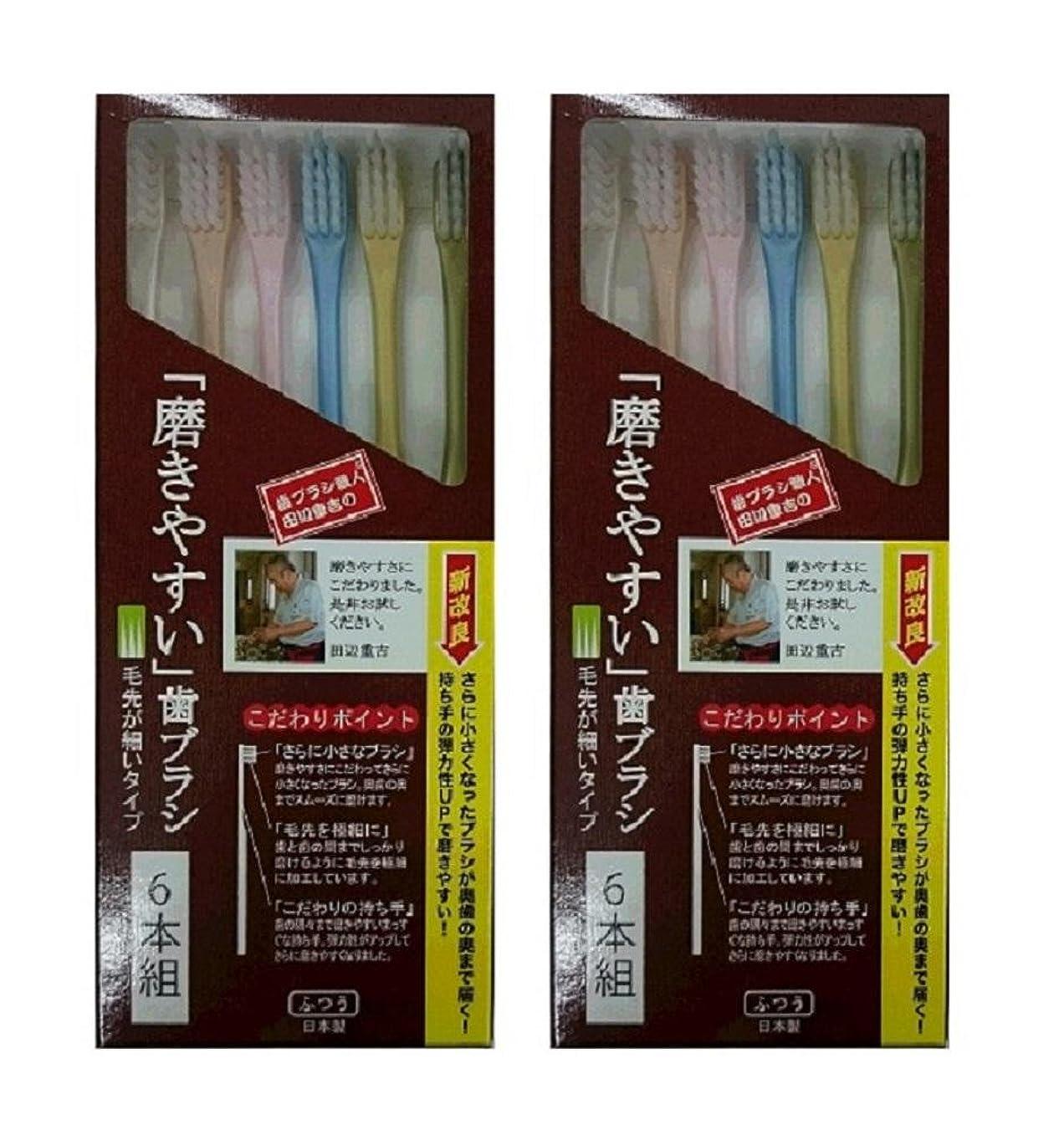 征服人気の筋歯ブラシ職人 田辺重吉考案 磨きやすい歯ブラシ 先細 6本組×2個セット