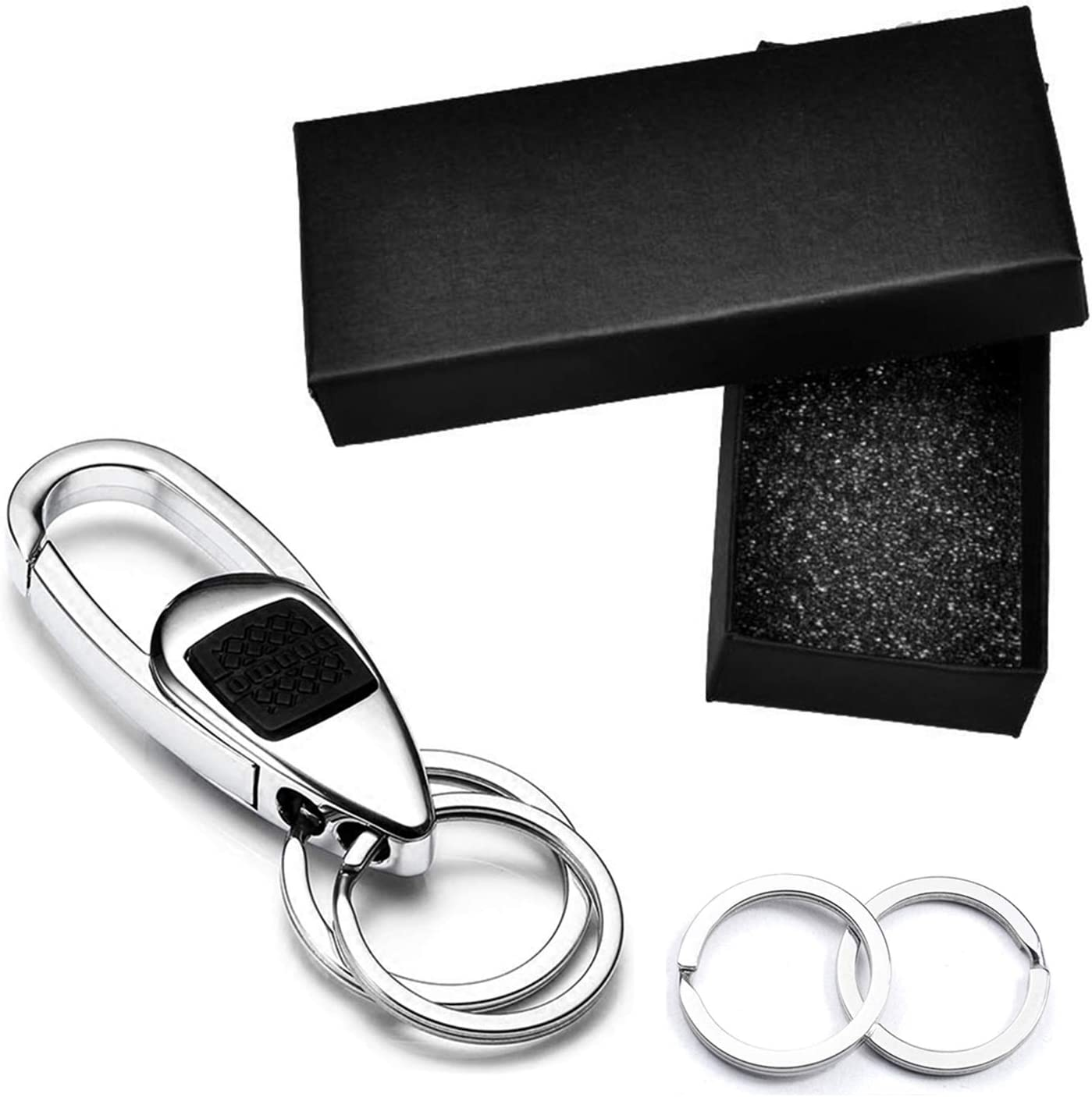 2 Extra Key Rings and Gift Box Lancher Key chain with Big Key Clip Durable Car Keychain for Men and Women