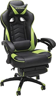 RESPAWN 110 Racing Style Gaming Chair,  Reclining Ergonomic Leather Chair with Footrest,  in Green (RSP-110-GRN)