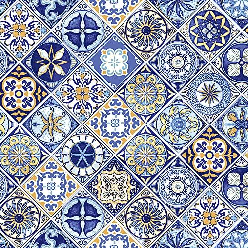 Passatoia Per Cucina Con Stampa Digitale e Fondo Antiscivolo; Passatoia Digitale di Facile Manutenzione Made in Italy (Blue Maiolic, 52x300)