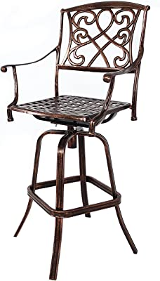 Incredible Amazon Com Sierra Outdoor Cast Aluminum Swivel Bar Stool Ocoug Best Dining Table And Chair Ideas Images Ocougorg