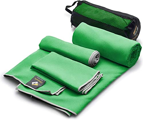 OlimpiaFit Microfiber Towels - Quick Dry 3 Size Pack (51inx31in, 30inx15in, 15inx15in) Camping, Sports, Beach, Backpa...
