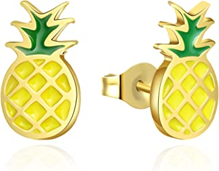 Sponsored Ad - Sepfavo Cute Pineapple Stud Earrings Hypoallergenic Yellow Gold Plated Pineapple Gifts for Teen Girls Stud ...