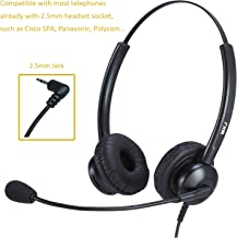 VoIP Headset with Microphone Dual-Ear 2.5mm Headset for Landline Telephone for Cisco Linksys SPA Polycom Panasonic & Gigaset and Cordless Dect Phones