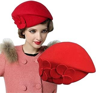YSJOY Womens Elegant Double Flower 100% Wool Pillbox Hat Fascinator Hat Beanie Hat