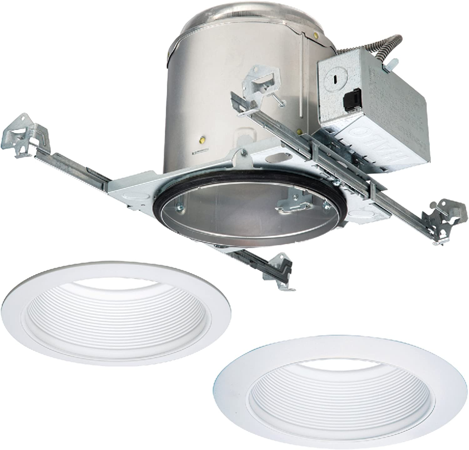 HALO E7ICAT6100WB-6PK E26 Series Recessed Housing with Tapered Baffle (6 Pack), 6 In, White