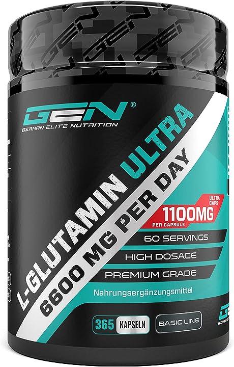 L-glutammina - 365 capsule - dosaggio extra alto con 1100 mg per capsula gen german elite nutrition gen-031