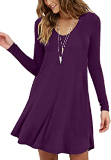 Women's Long Sleeve Casual Swing Simple T-Shirt Loose Dress