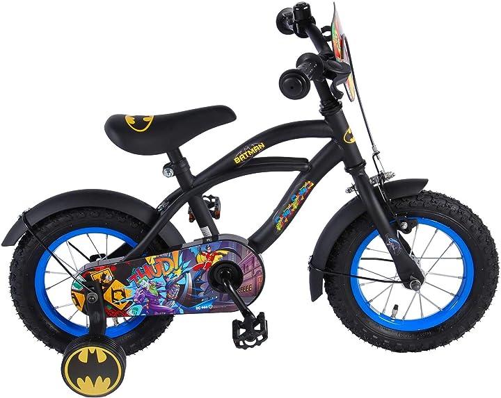 Bicicletta a rotelle batman bambino 12 pollici con ruotine rimovibili nero 95% assemblata bici 81234