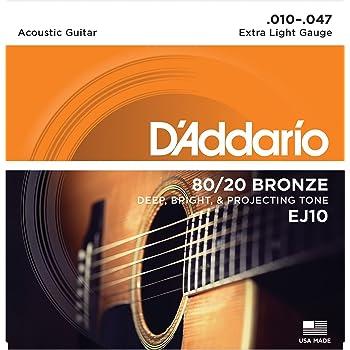 CUERDAS GUITARRA ACUSTICA - D´Addario (EJ/10) Extra Lite Bronce 80 ...