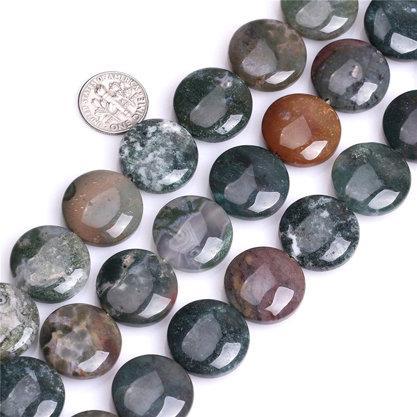 Moss Agate Beads for Jewelry Making Natural Semi Precious Gemstone 20mm Coin Strand 15