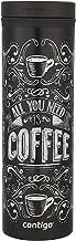 Contigo 2002764 Vaccum-Insulated Stainless Steel TwistSeal Glaze Travel Mug, 20 oz, Black (All You Need is Coffee)