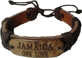 Leather Bracelet Jamaica; One Love & Respect Mon