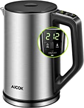 Electric Kettle Temperature Control (PRO), Double Wall 100% Stainless Steel Kettle with Real Time LED Display, Safe Touch and Cordless Tea Kettle, SpeedBOil System Fast Heating and Smart Warming Function, 2 Year Warranty, Aicok