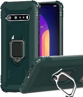 Starhemei for LG V60 ThinQ Case, LG V60 Case, TPU Armor Carbon Fiber Case Car Ring Anti-Skid Anti-Fall Kickstand Phone Cas...