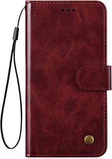 IKASEFU Compatible with iphone XR Case luxury Retro Pu Leather Wallet Strap Case Card Slots Shockproof Magnetic Folio Flip Protective Soft Bumper Cover Case,brown
