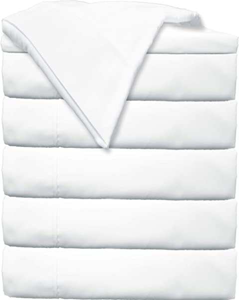 Glarea Bed Flat Sheets 6 Pack Twin White Soft Brushed Microfiber Bedding For Blissful Sleep