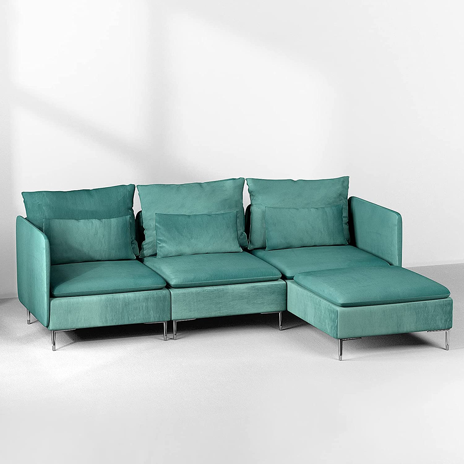 Convertible Sectional Sofa Couch Velvet L-Shaped Fabr with Miami Special Campaign Mall
