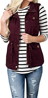 Women's Casual Sleeveless Lightweight Drawstring Botton Zipper Up Jacket Vest Coat with Pockets