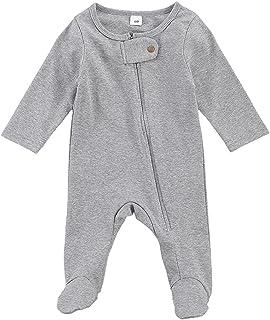 طفلة بوي رومبير الوليد طويلة الأكمام سستة بذلة ملابس الطفل الناعمة (Color : Gray, Kid Size : 0-3M)