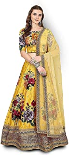 Indian Dresses Store Rutvi Fashion Women's Silk Embroidered Floral Print Semi Stitched Lehenga Choli (YFL_3, Multicolour_RF107_Free Size) Yellow