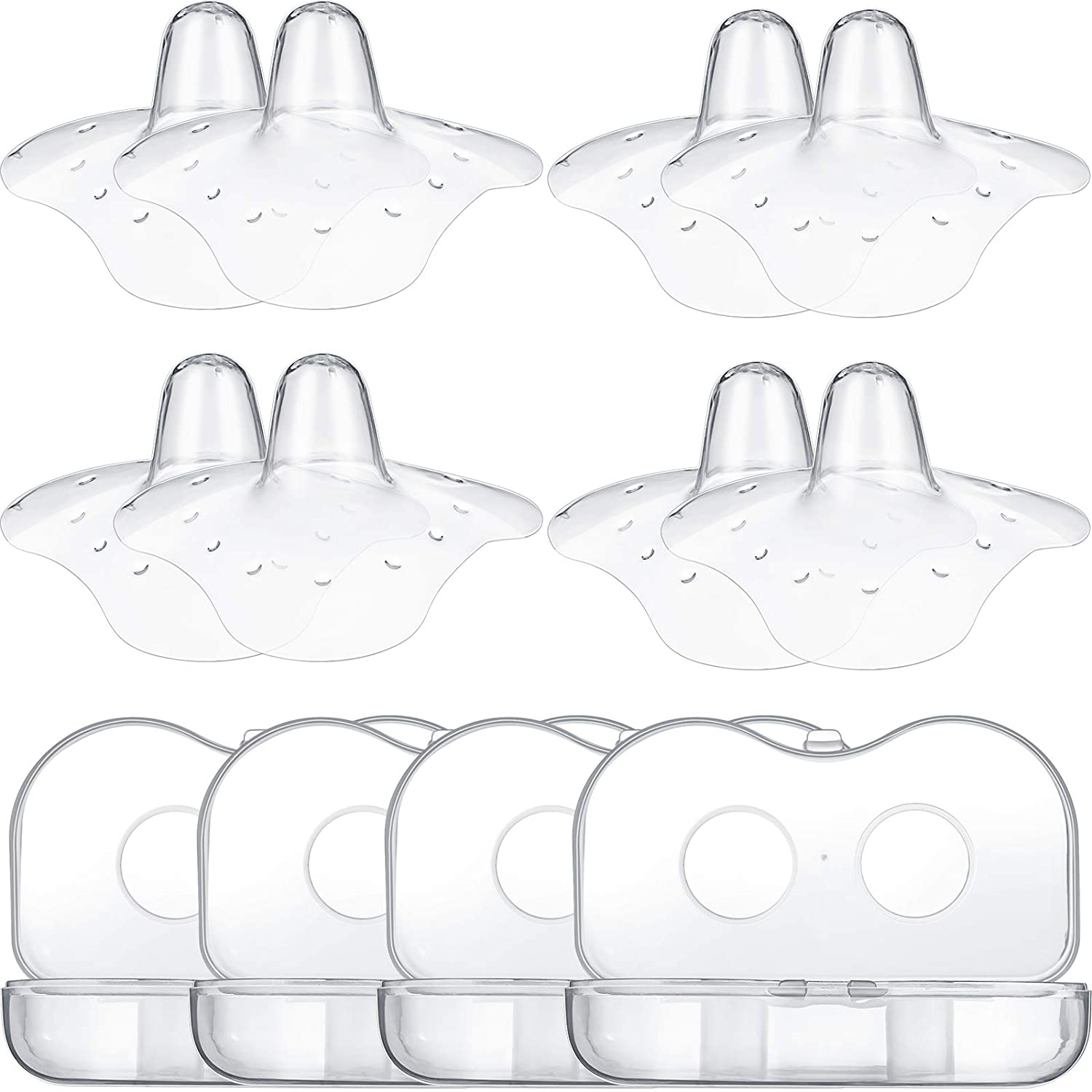 8 Pieces Contact Nipple Protector Nipple Everters with Carrying Case Silicone Nipple Extender Without BPA for Breastfeeding with Latch Difficulties Flat Inverted Nipples (Clear,20 mm/ 0.78 Inch)