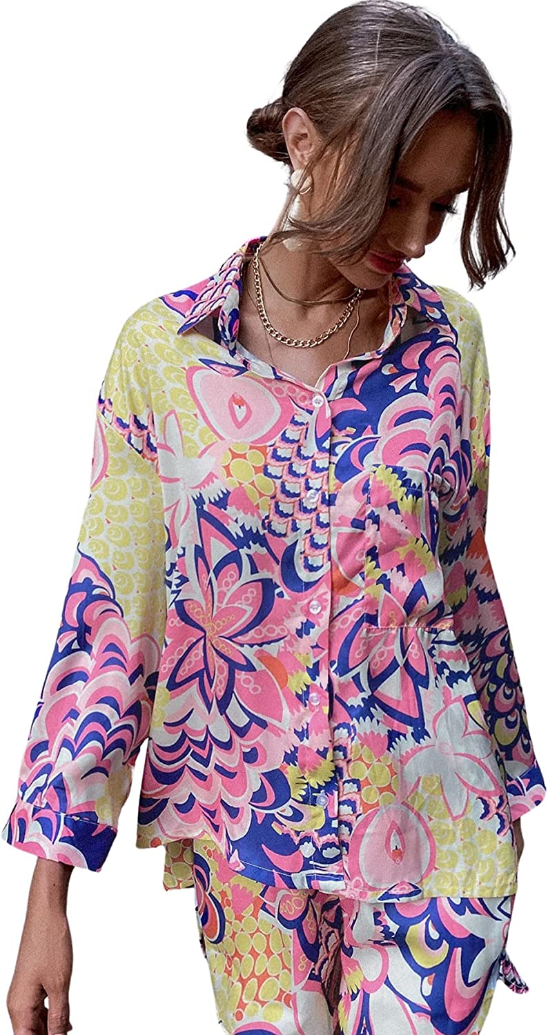 SOLY HUX Women's Button Down Long Sleeve Shirt Floral Print Top Blouse