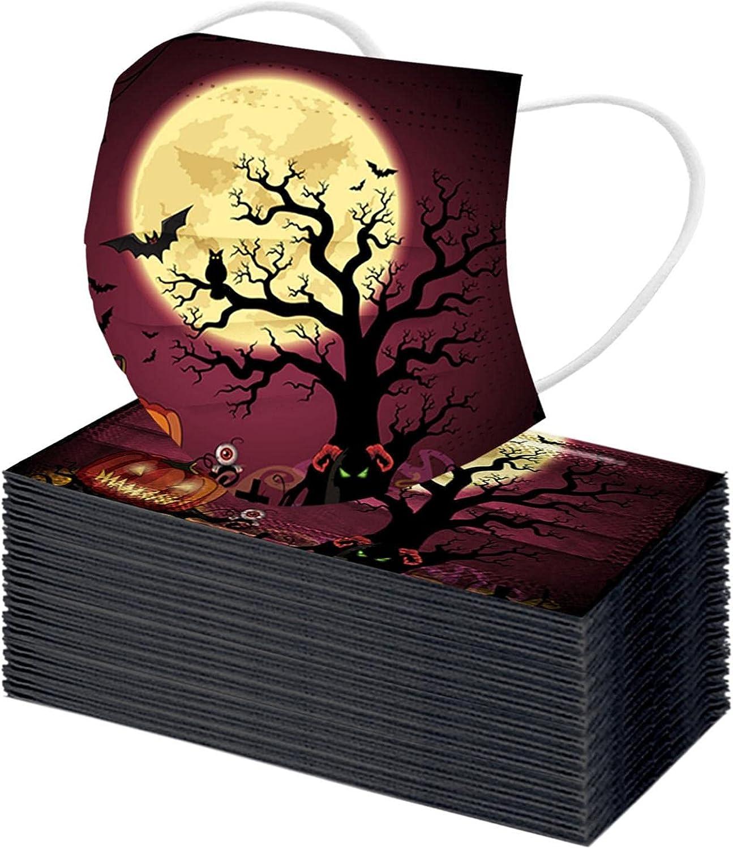 50PC Halloween Skull Ranking TOP17 Pumpkin Patterned for Face_Masks Bargain sale Bat Adult