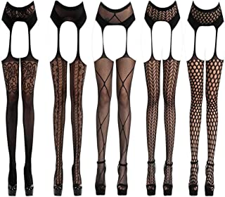 Women's 5 Styles Pack Sexy Lingerie Mesh Babydoll Stretch Sleepwear Tights Stockings Gift for Girlfriend