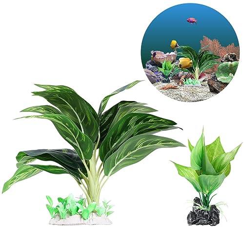 UEETEK 2 Pieza/ Set Plantas de agua para acuarios, Plantas de acuario de plástico