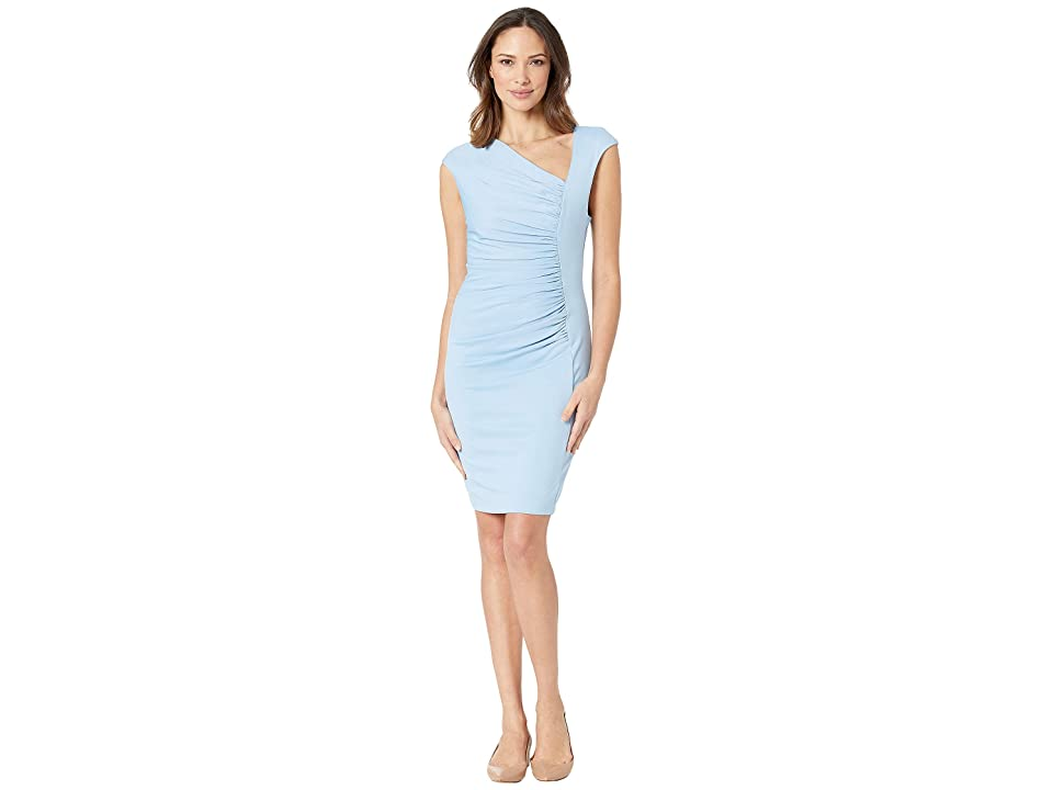 Image of ALEXIA ADMOR Brooke Asymmetric Ponte Ruched Sheath Dress (Halogen Blue) Women's Dress