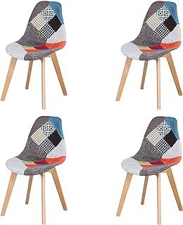Silla de Comedor Juego de 4 sillas de Retazos Silla de Nórdico Estilo para Sala de Reuniones Comedor Sala Estar Restauran...