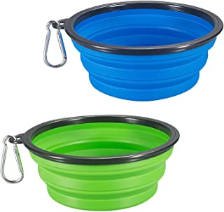 COMSUN 2-Pack Extra Large Size Collapsible Dog Bowl, Food Grade Silicone BPA Free, Foldable Expandable Cup Dish for Pet Ca...