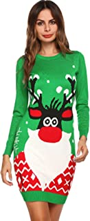 Christmas Sweater, Women Ugly Reindeer Xmas Pullover Knitted Sweater Jumper Dress