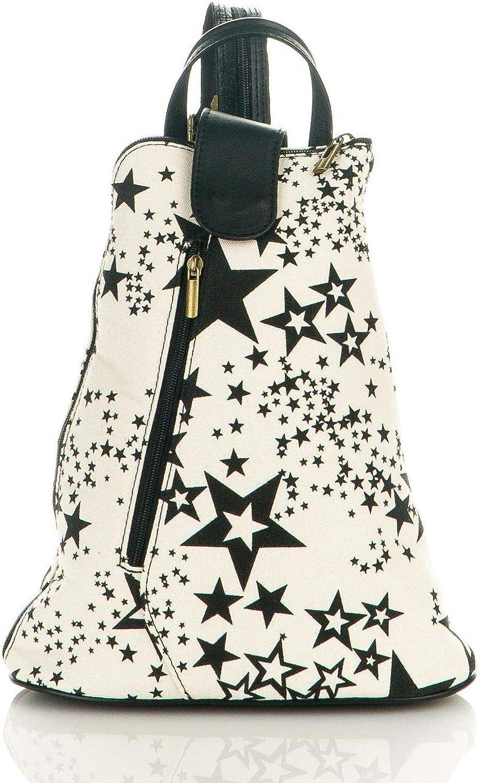 LaFiore24 LaFiore24 LaFiore24 ital. Canvas echt Leder Handtasche hochwertige Damen Schultertasche Stern Reißverschluss weiß-schwarz B07G7BQK3Z  Voller Charme 664a70