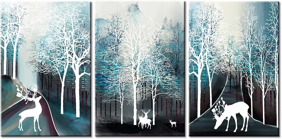ZXYJJBCL White Deer Animal Wall Art Canvas Kansas Discount is also underway City Mall 3 Triptych Pho Pieces