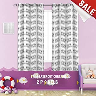 Big datastore home Custom Made Curtain, Abstract Art Audio Background Boom Boombox Box Cassette Dance Design Device 96 x 72 inch Grommet Children's Small Curtains