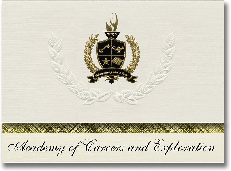 Signature Announcements Academy of Careers and Exploration (Helendale, CA) Abschlussankündigungen, Prsidential, Basic Pack 25 mit Goldfarbenen und schwarzen metallischen Folienversiegelung