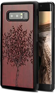 Note 8 Wood Case, Natural Wood Abstract Case Carving Tree Heavy Duty High Impact Shock Resistant Non Slip Hybrid Protective Cover for Samsung Galaxy Note 8 (Tree)