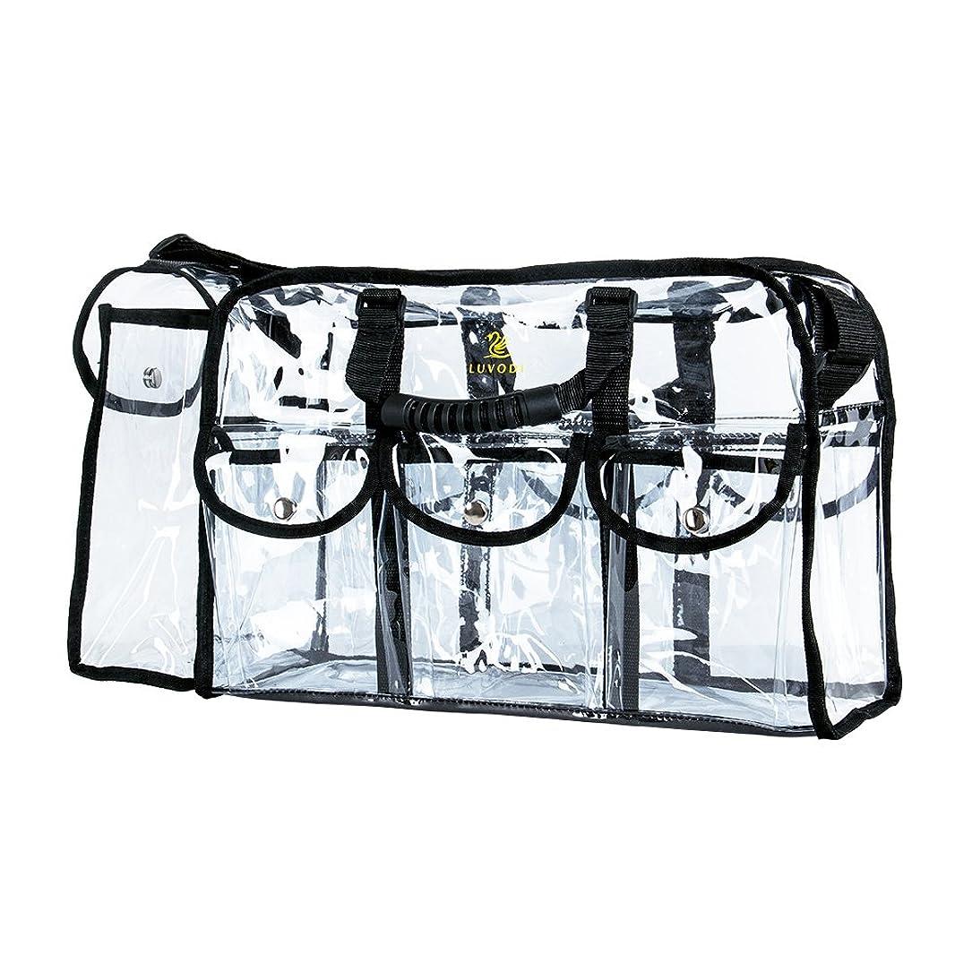 導出ケージどこかLUVODI 透明バッグ プールバッグ スパバッグ トイレタリーバッグ pvc クリア バッグ ビニール バック 透明 丈夫 化粧バッグ 大容量 トート ショルダー バッグ 2way Lサイズ