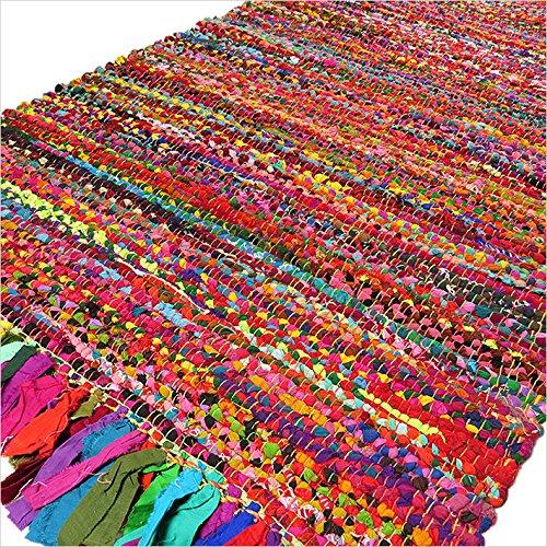 Eyes of India - 4 ft Rund Bunt Gewebt Quaste Chindi Geflochten Bereich Dekorativ Fleckerlteppich Indische Böhmisch Akzent Boho Chic Handgefertigt Handgewebt - Multi, 4 X 6 ft. (120 X 180 cm)