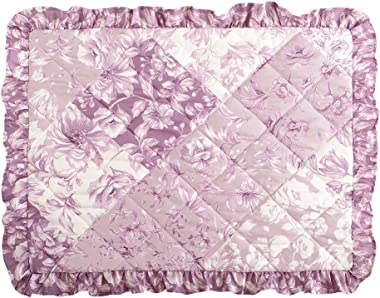 Collections Etc Kingsville Quilted Ruffle Purple Floral Pillow Sham