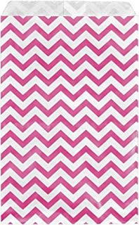 200 pcs Pink Chevron Paper Gift Bags Shopping Sales Tote Bags 6