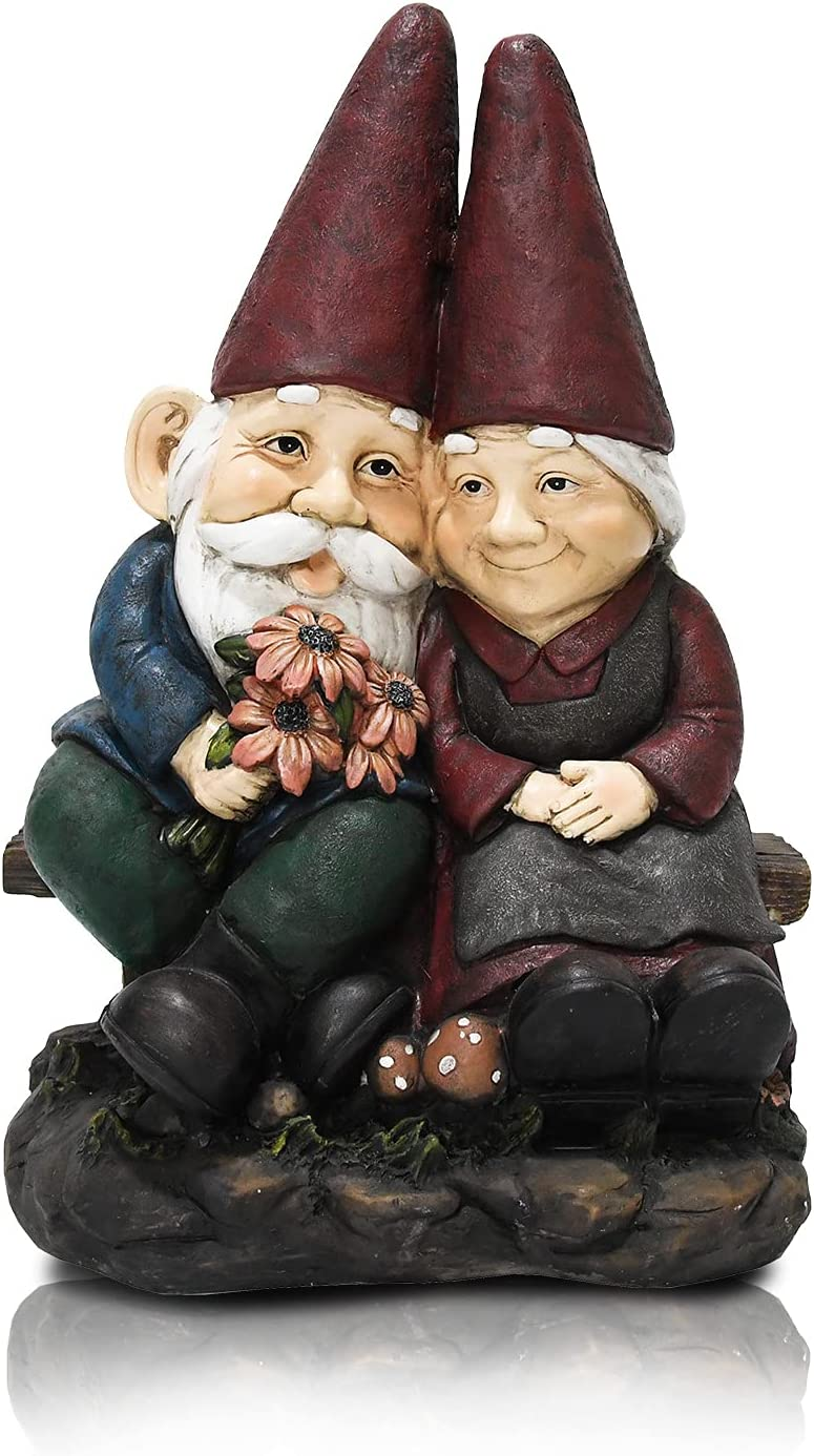 Garden Gnomes Couple Statue, 16.8 Inch Resin Gnomes Figurine Husband Holding Flowers, Gnomes Garden Decorations for Outdoor Patio Yard Lawn Backyard Home Decor