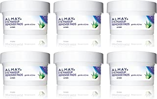 Almay Eye Makeup Remover Pads - Travel Size - 15 Count Pads Per Container - Pack of 6 Containers
