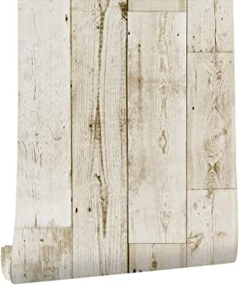 """HaokHome 18119-6M Faux Distressed Wood Wallpaper Peel and Stick Wallpaper Off White/Pale Brown 17.7""""x 19.7ft Self-Adhesive Contact Paper"""